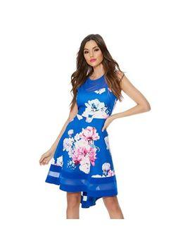 Quiz   Royal Blue Floral Mesh Dip Hem Dress by Quiz