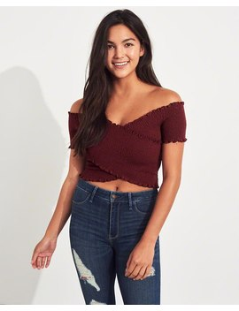 Smocked Wrap Off The Shoulder Crop Top by Hollister