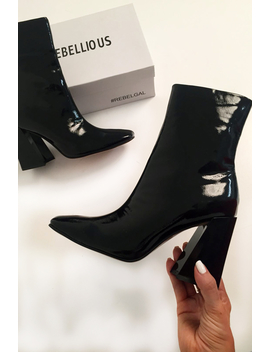 Black Patent Block Heel Ankle Boots   Aariyana by Rebellious Fashion