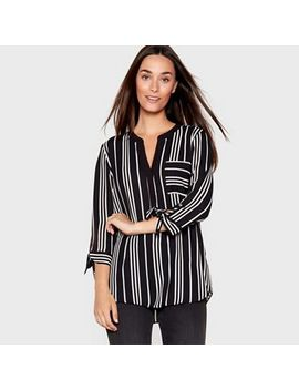 The Collection   Black Stripe Print Tie Sleeve Shirt by The Collection