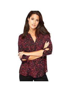 The Collection   Wine Leopard Print V Neck Blouse by The Collection