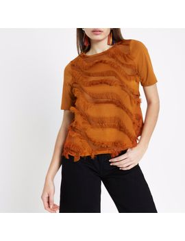 Tan Fringe Detail Boxy T Shirt by River Island