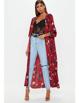 Red Tie Front Kimono Jacket by Missguided