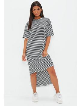 Monochrome Stripe Oversized T Shirt Dress by Missguided
