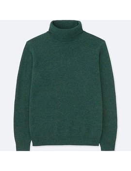 Men Premium Lambswool Turtleneck Long Sleeve Sweater by Uniqlo
