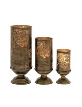 The Curated Nomad Lotta Set Of 3 Metal Candle Holders by The Curated Nomad