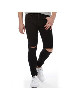 Ringspun Mens Apollo Super Skinny Fit Jeans With Rips Black by Mand M Direct