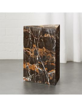 Tri Brown Marble Side Table by Crate&Barrel
