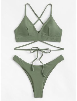 Criss Cross Lace Up Bikini Set by Romwe