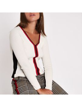 Cream Knit Rib Colour Block Top by River Island