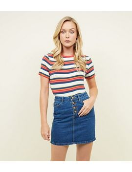 Blue Faux Horn Button Denim Mini Skirt by New Look