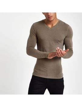 Taupe V Neck Muscle Fit T Shirt by River Island