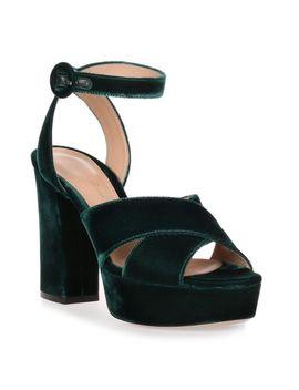 Women's Roxy Hunter Green Velvet Sandal by Gianvito Rossi