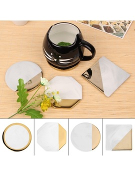 Marble Grain Gold Plating Ceramic Coaster Cup Mats Desktop Non Slip Decorations   by Ali Express