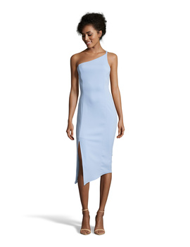 Asymmetrical Neck Solid Dress by Issue New York