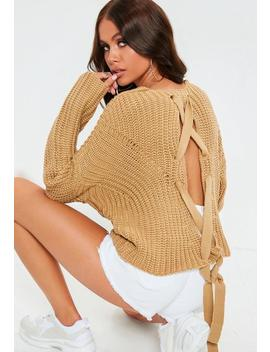 Camel Lace Up Back Chunky Knitted Jumper by Missguided