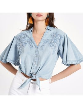 Blue Denim Floral Embroidered Tie Front Shirt by River Island