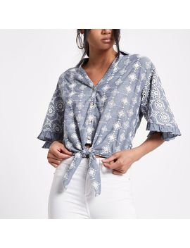 Blue Broderie Tie Front Crop Shirt by River Island