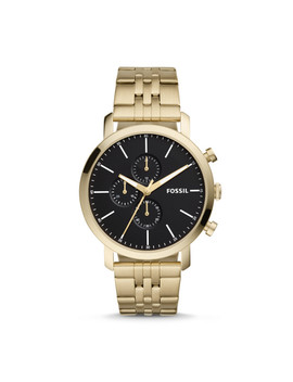 Luther Chronograph Gold Tone Stainless Steel Watch by Fossil