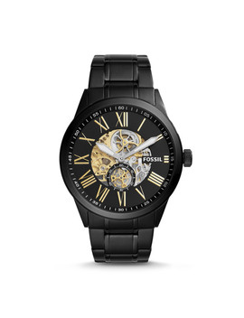 Flynn Pilot Mechanical Black Stainless Steel Watch by Fossil
