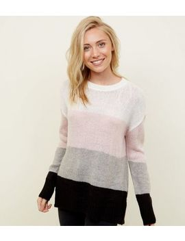 Petite White Colour Block Jumper by New Look