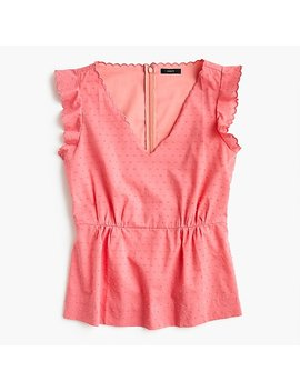 Petite V Neck Peplum Top In Swiss Dot by J.Crew