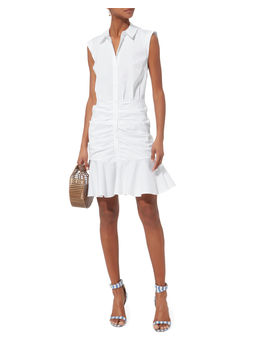 Core Bell White Ruched Dress by Veronica Beard