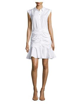 Bell Sleeveless Ruched Stretch Poplin Dress, White by Veronica Beard
