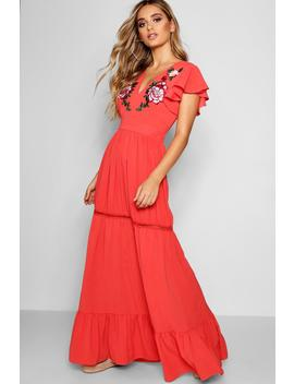 Embroidered Ruffle Hem Maxi Dress by Boohoo