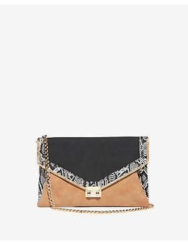 Mixed Media Front Lock Clutch by Express