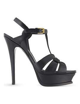 Tribute 105 Patent Leather Heeled Sandals by Saint Laurent