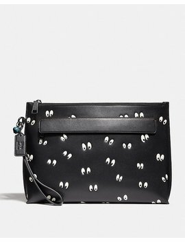 Disney X Coach Carryall Pouch With Spooky Eyes Print by Coach