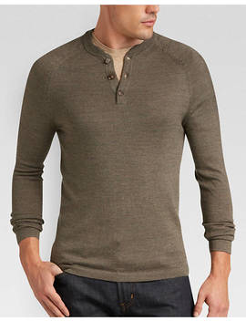 Joseph Abboud Autumn Brown Henley Sweater by Mens Wearhouse