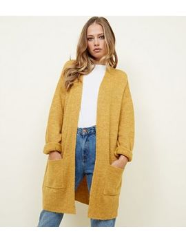 Mustard Balloon Sleeve Oversized Longline Cardigan by New Look