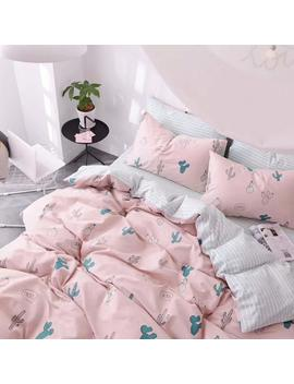 Highbuy Cactus Print Kids Duvet Cover Set Full 100 Percents Cotton Pink Striped Children Duvet Cover With Zipper Closure 3 Piece Reversible Bedding Set Queen For Girls by Highbuy