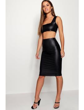 Petite Wet Look Square Neck Top & Midi Skirt Co Ord Set by Boohoo