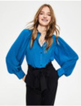 Blouson Sleeve Silk Shirt by Boden