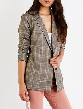 Plaid Double Breasted Blazer by Charlotte Russe