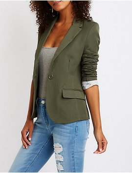 Single Button Cuffed Blazer by Charlotte Russe
