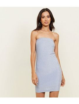 Pale Blue Glitter Strapless Party Bodycon Dress by New Look