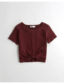 Knot Front Crop T Shirt by Hollister