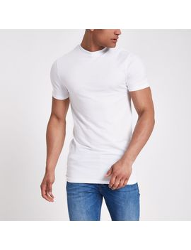 White Muscle Fit Longline T Shirt by River Island