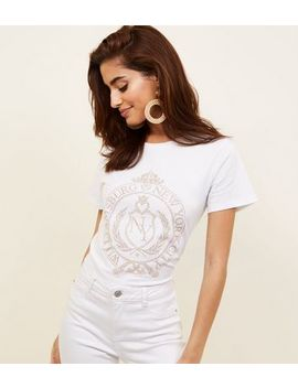 White Studded New York Slogan T Shirt by New Look