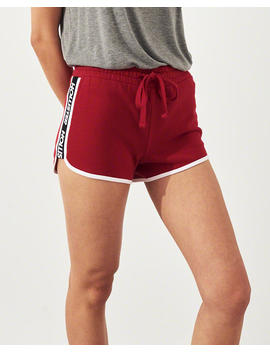 High Rise Fleece Curved Hem Shorts by Hollister