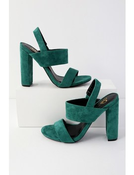 Medina Green Suede High Heel Sandals by Lulu's