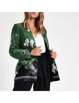 Petite Green Floral Blazer by River Island