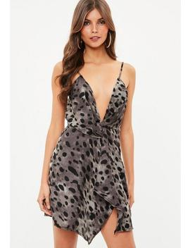 Grey Leopard Print Twist Cami Dress by Missguided