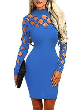 Minetom Damen Halsband Hoch Hals Langarm Lace Up Hollow Out Slim Fit Bodycon Kleider Club Party Cocktail Kleid by Amazon