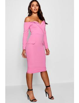 Off The Shoulder Blazer Midi Dress by Boohoo