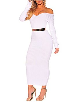 Boutiquefeel Damen Schulterfreies Ribbed Langarm Bodycon Maxi Kleid by Amazon